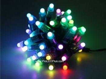 12mm Diffused 5V WS2801 RGB Thin LED Pixels, 50/strand,  IP68