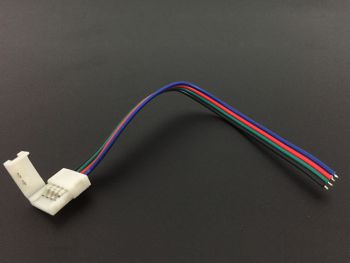 4 Pin 10mm Solderless LED Strip Connector to Bare Wire Lead