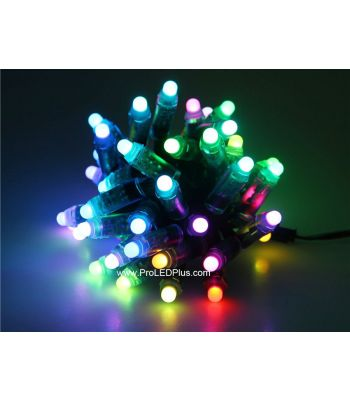 12mm Diffused 5V WS2801 RGB Thin LED Pixels, 50/strand,  IP68