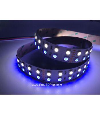 Double Row RGB+W 5050 LED Strip, 120/m, 24V, 5m